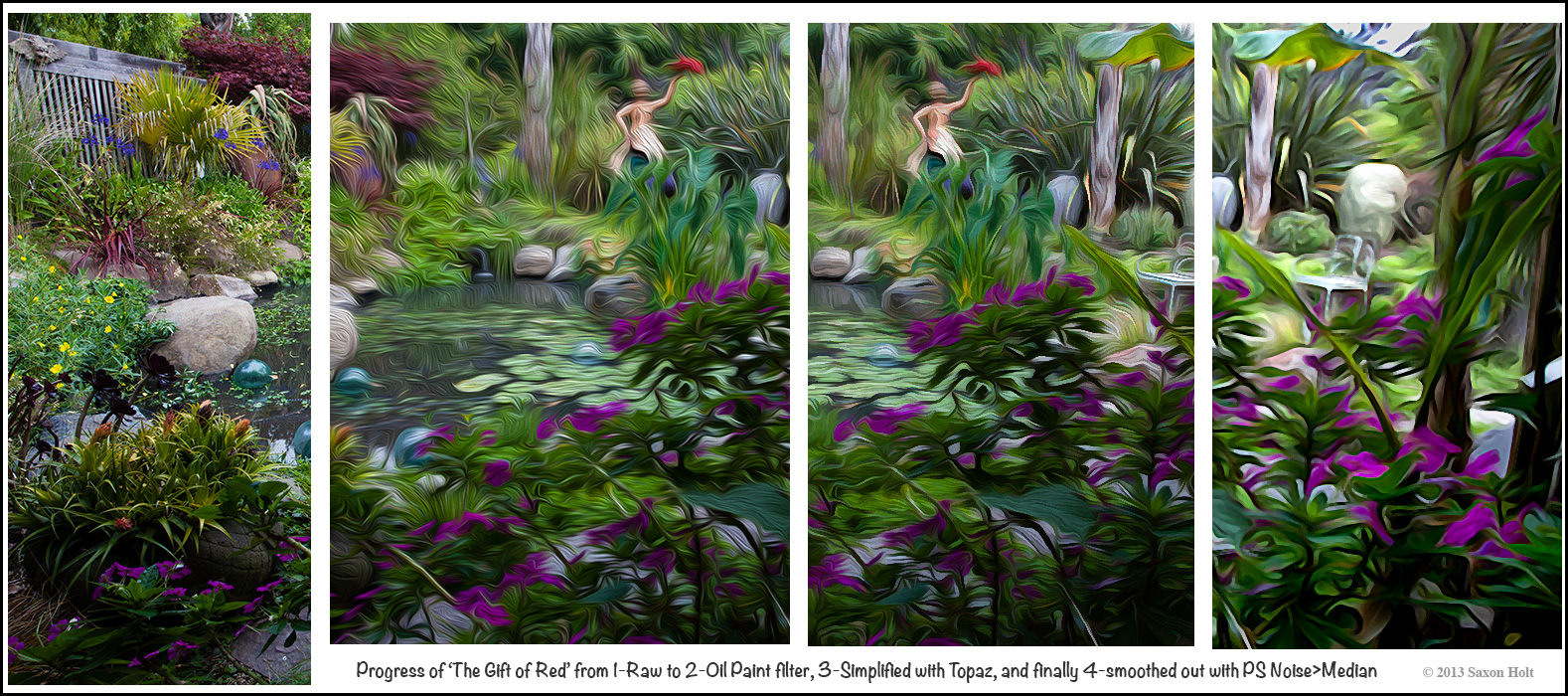 """Making """"The Gift of Red"""" - photo transition to art; simplified in 4 stages"""
