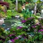 Garden pond in California cottage garden with sculpture; Sherry Merciari garden