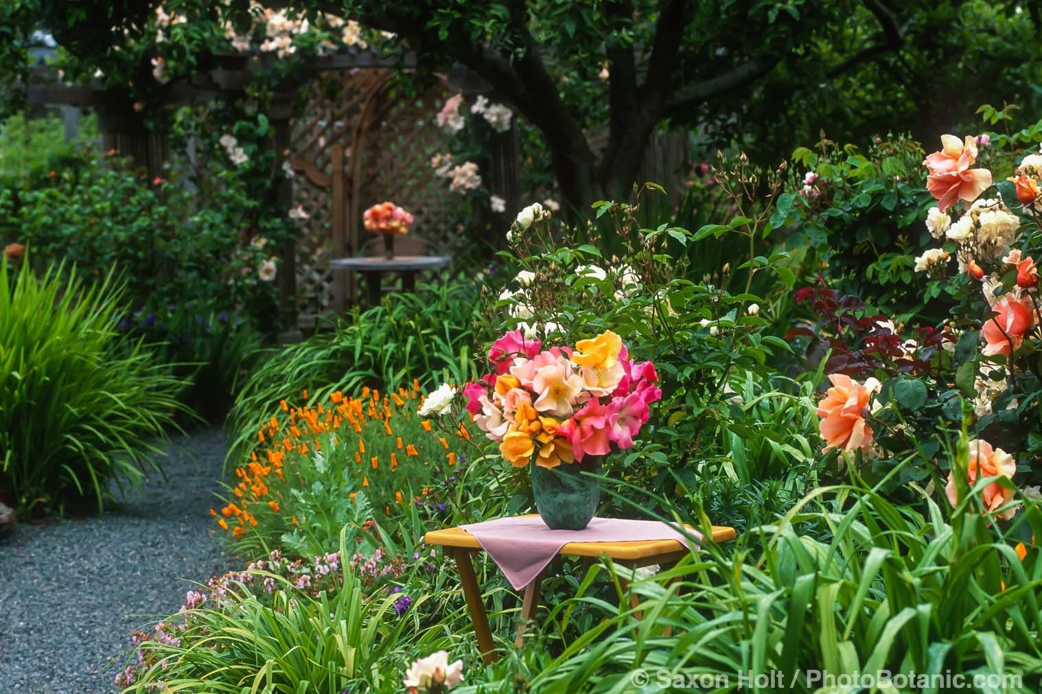 Rose bouquet, floral arrangement outdoors in Sally Roberston garden