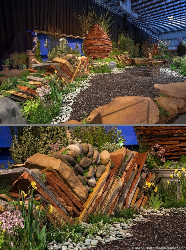 """""""Living Water"""" - garden design by Andrea Hurd; San Francisco Flower and Garden Show 2015, dry laid stone wall"""