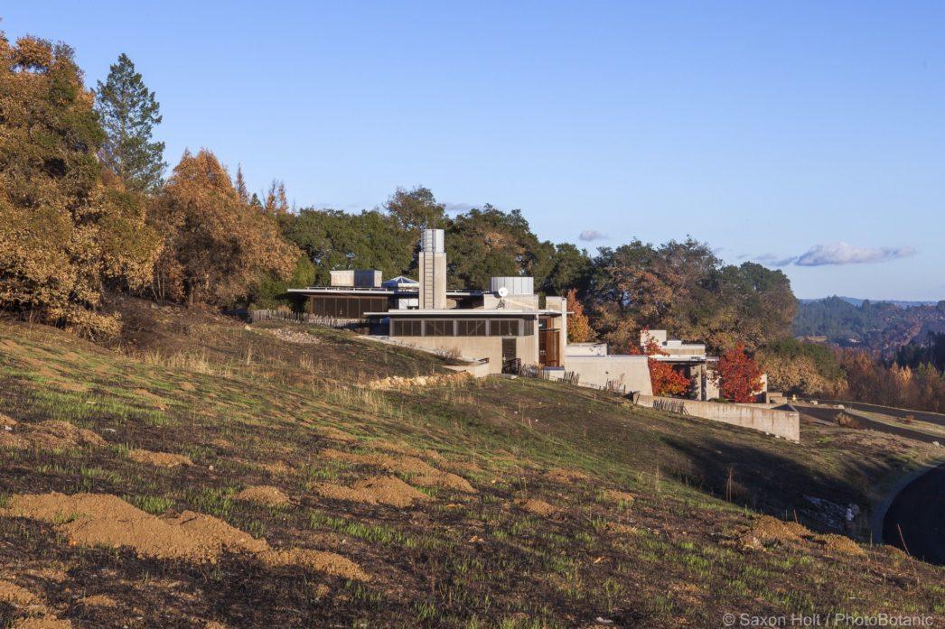 Dwight Center, fire safe building in California native landscape, Pepperwood Preserve